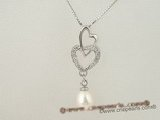 spp107 Sterling silver Double heart design pendant drop with 7-8mm oval pearl