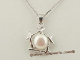 spp108 wholsale sterling silver white freshwater bread pearl pendant necklace