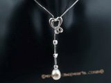 spp155 Heart design 7-8mm oval drop pearl pendant necklace in sterling silver