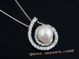spp157 10-11mm white round pearl 925 silver zirconia mounting pendant online