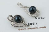 spp161 Timeless 7-8mm black round pearl inlayed with 925silver design pendant