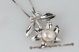 spp171 Sterling silver blooming flower designer pendant with bread pearl