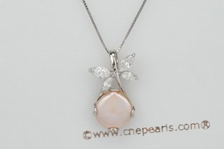 spp185 Sterling Silver 12-14mm Freshwater Coin Pearl Pendant
