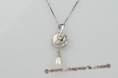 spp186 Sterling silver White Freshwater Coin Pearl Pendant with Drop Pearl
