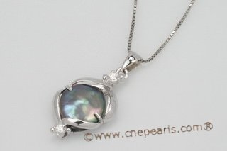 spp187 12-14mm Black Freshwater Coin Pearl 925Silver Pendant