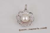 spp199 Fancy 10-10.5mm Bread pearl 925silver pendant, inlaid CZ