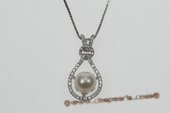 spp209 Trendy 7-8mm Round Pearl Sterling Silver Pendant