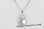 spp213 Sterling Silver 11-13mm Grey Coin Pearl Pendant in Wholesale
