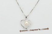 spp215 Sterling Silver 7-8mm Round Pearl Pendant in Heart Shape
