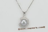 spp216 925Silver Zirconia Pendant with 10-10.5mm Grey Bread pearl
