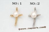 spp225 Designed Sterling Silver White Bread Pearl Cross Pendant