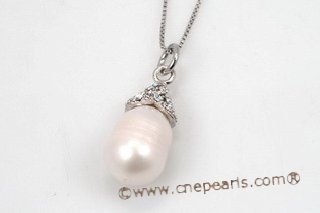 spp227 Designed Sterling Silver White Large Teardrop Pearl Pendant