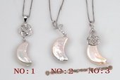 Spp334 Unique Sterling Silver 10*20mm Moon Shape Coin Pearl Pendant