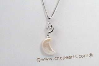 Spp335 Unique 10*20mm Moon Shape Coin Pearl Sterling Silver Pendant