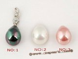sppd018 Sterling silver pendant necklace drop with 12*15mm shell pearl