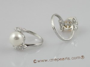 spr003 sterling silver 8.5-9mm pearl &zircon beads rings, us size 7