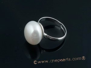 spr038 Sterling Silver 13-14mm white bread pearl Adjustable  Ring in wholesale