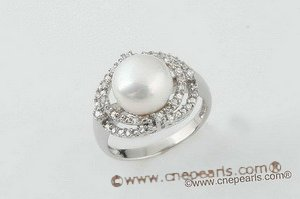 spr043 Sterling silver single-band styling sparkling white pearl ring