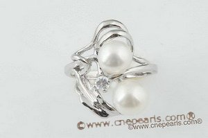 spr045 Designer 7.5-8mm Two white bread pearl 925silver ring
