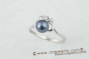 spr051 Smart apple design 925silver ring with black cultured pearl