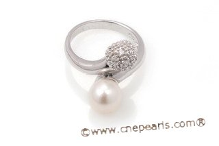 spr120 Sterling Silver 8-9mm Teardrop Freshwater Pearl Ring