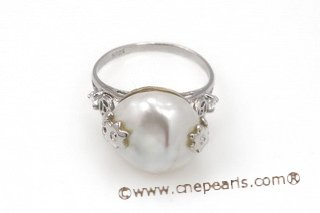 spr121 Sterling Silver Design Ring with 13-14mm Coin Pearl