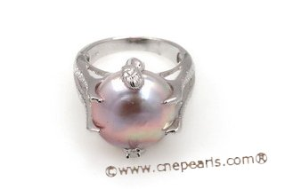 spr122 15-16mm Purple Coin Pearl Sterling Silver Design Ring