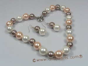 spset013 multi colour south sea shell pearl beach pearl jewelry set