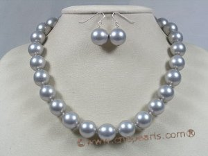 spset018 12mm grey south sea shell pearl necklace earrings set
