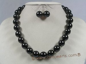 spset020 12mm black shell pearl necklace earrings set in wholesale