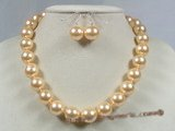 spset021 12mm gold yellow shell pearl necklace earrings set in wholesale