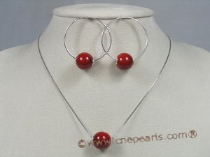 spset026 sterling Red shell pearl pendant& earrings jewelry set in wholesale
