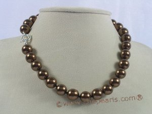 spset032 12mm coffee shell pearl necklace earrings set in wholesale