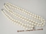 spset044 Double rows 10mm white shell pearl necklace bracelet set in  wholesale
