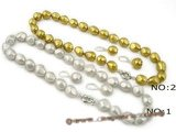 spset048 wholesale 12*16mm nugget shell pearl Princess necklace and earrings
