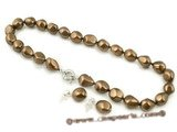 spset050 12*16mm baroque nugget shape shell pearl Princess necklace and earrings on sale