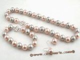 spset054 12mm peach and grey shell pearl necklace jewelry set in wholesale