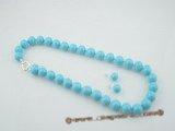 spset056 Fashion 12mm shell pearl necklace and earrings set in turquoise color