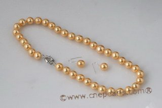 spset059 Fashion 10mm&12mm round shell pearl Jewelry set in golden yellow
