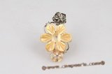 sr006 Silver-toned Carve Flower Shell Adjustable Ring