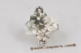 sr007 Silver-toned Carve Flower Sea Shell Adjustable Ring