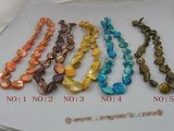 ss020 nugget shape shell strands wholesale, different color
