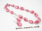 SSET001 pink nugget shell  shell necklace set with 925silver earrings
