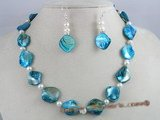 SSET003 bule nugget shell  shell necklace set with 925silver earrings