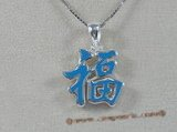 "stp001 Sterling Silver blue Chinese Character for ""Happiness"" Pendant"