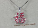 "stp003 Sterling Silver red Chinese Character for ""Happiness"" Pendant"