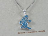 "stp004 Sterling Silver Chinese Character for ""LOVE"" Pendant in blue color"