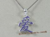 "stp005 Sterling Silver Chinese Character for ""LOVE"" Pendant in purple color"
