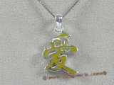"stp006 Sterling Silver Chinese Character for ""LOVE"" Pendant in yellow color"