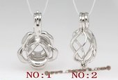 Swpm003 Sterling Silver Wish Pearl Cage Pendants in Flower Design